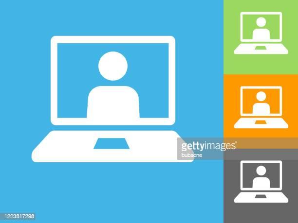 ラップトップ コンピュータの仮想呼び出しアイコン - バーチャルイベント点のイラスト素材/クリップアート素材/マンガ素材/アイコン素材
