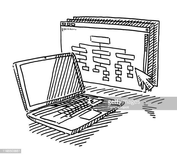 laptop computer website development drawing - white collar worker stock illustrations, clip art, cartoons, & icons