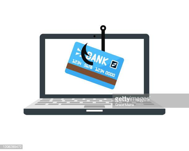 laptop computer with a fishing hook phishing for private identity information and personal financial data vector illustration - identity theft stock illustrations