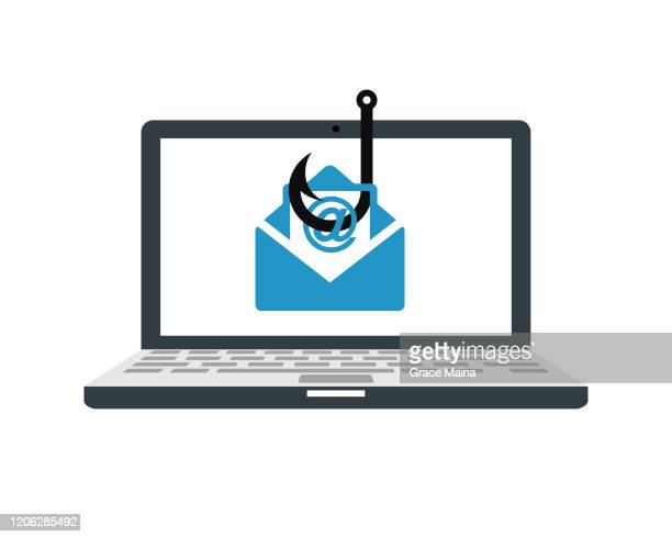laptop computer with a fishing hook phishing for private identity information and personal financial data vector illustration - corporate theft stock illustrations