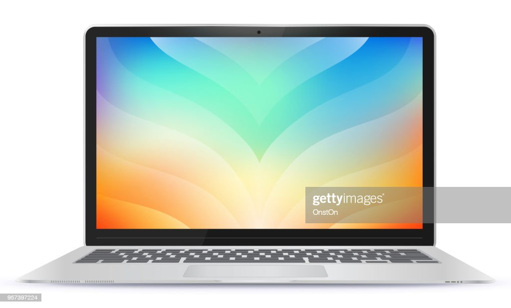 Laptop Computer With Colorful Abstract Screen Vector Illustration
