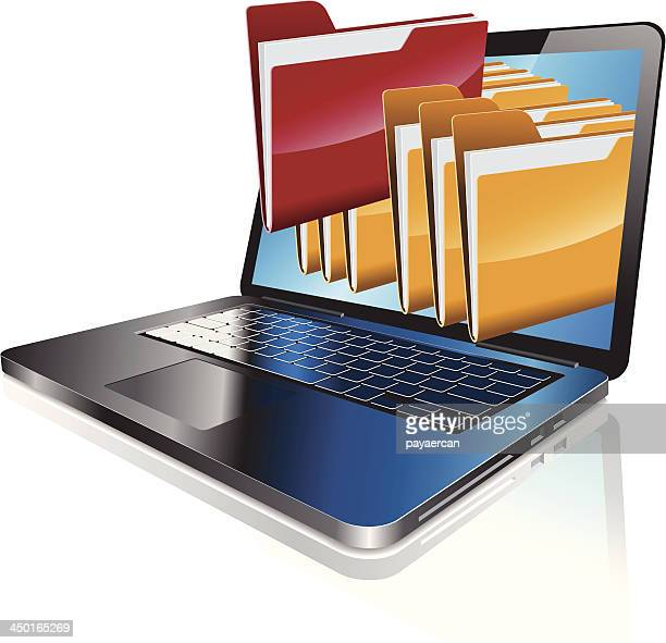 laptop computer with folders coming out of screen - filing documents stock illustrations, clip art, cartoons, & icons