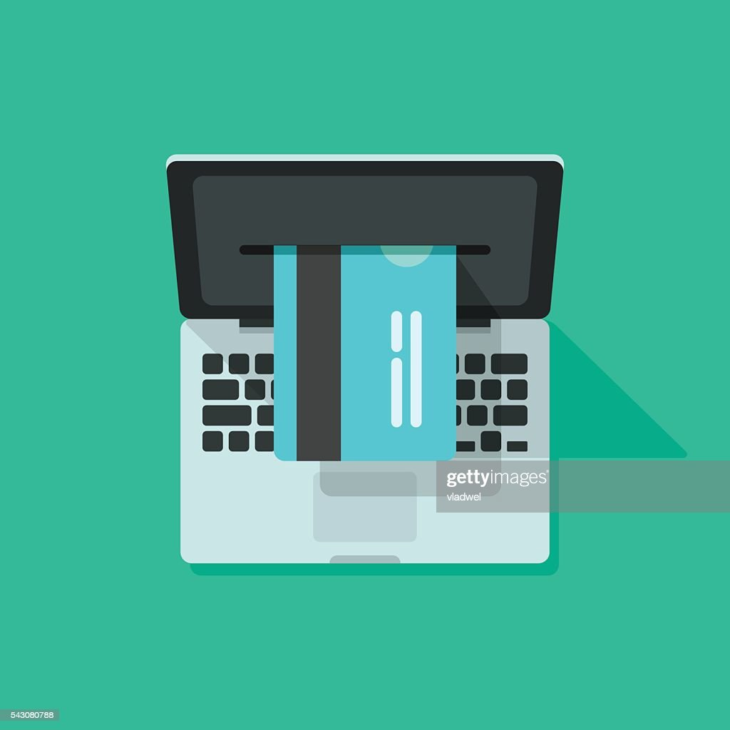 Laptop credit card processing vector, concept of internet online shopping