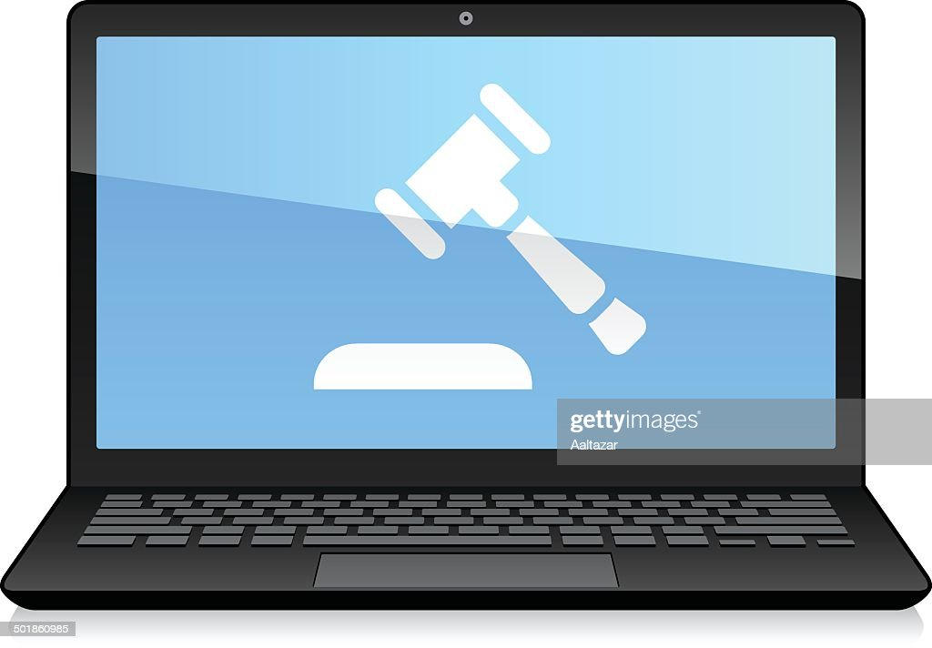 Laptop Displaying Auction Hammer : stock illustration