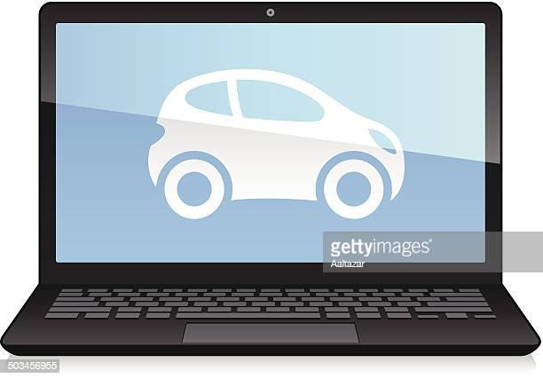 laptop displaying car - domestic car stock illustrations, clip art, cartoons, & icons
