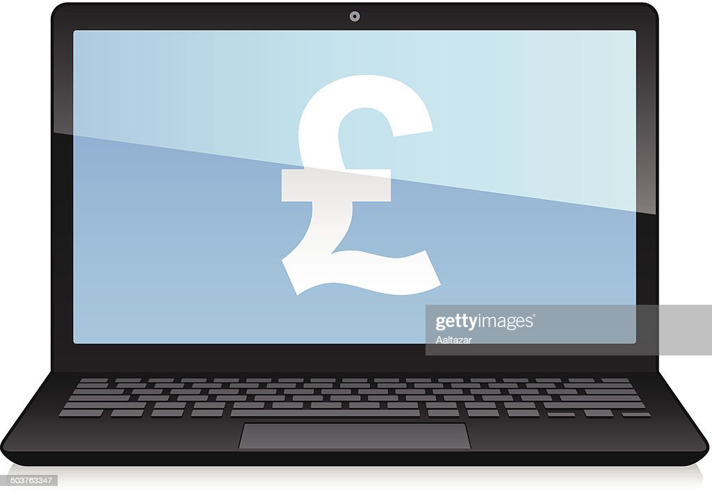 Laptop Displaying Pound Symbol Vector Art Getty Images