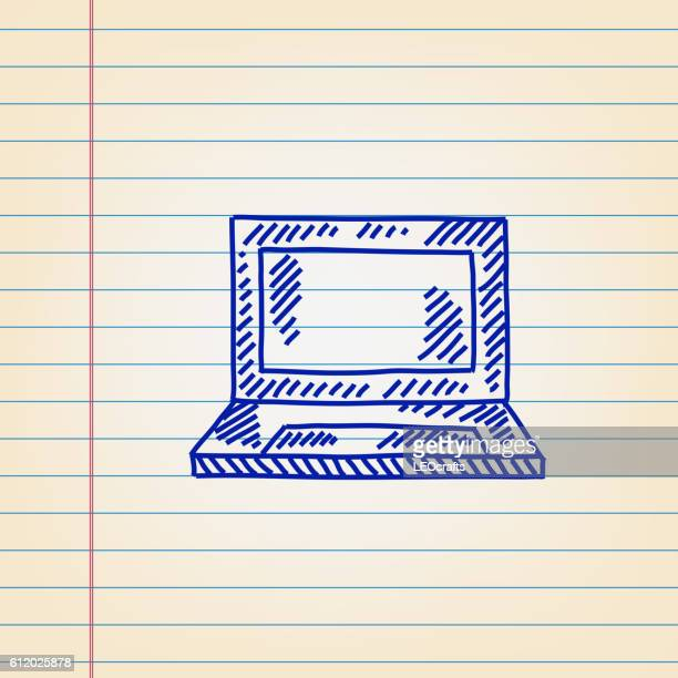 Laptop Drawing on Ruled paper.