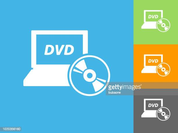 dvd laptop  flat icon on blue background - dvd stock illustrations