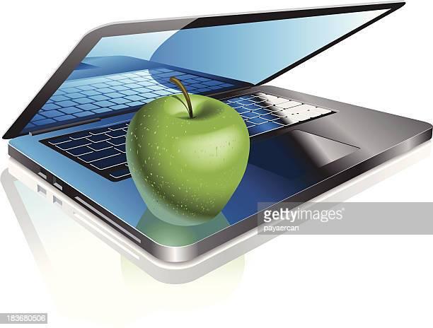 ノートパソコンのグリーンアップル
