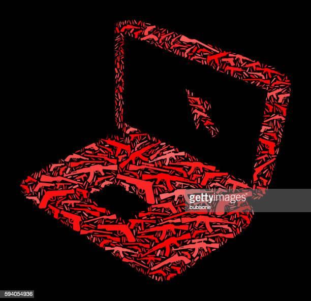 Laptop Gun Icon Pattern Background