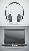 Laptop, headphones icons