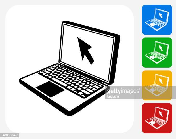illustrations, cliparts, dessins animés et icônes de icône du design plat pour ordinateur portable graphic - écran numérique