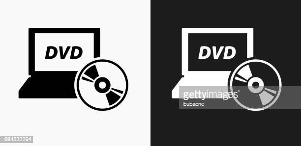 dvd laptop icon on black and white vector backgrounds - dvd stock illustrations, clip art, cartoons, & icons