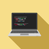 Laptop icon with code editor on screen. vector
