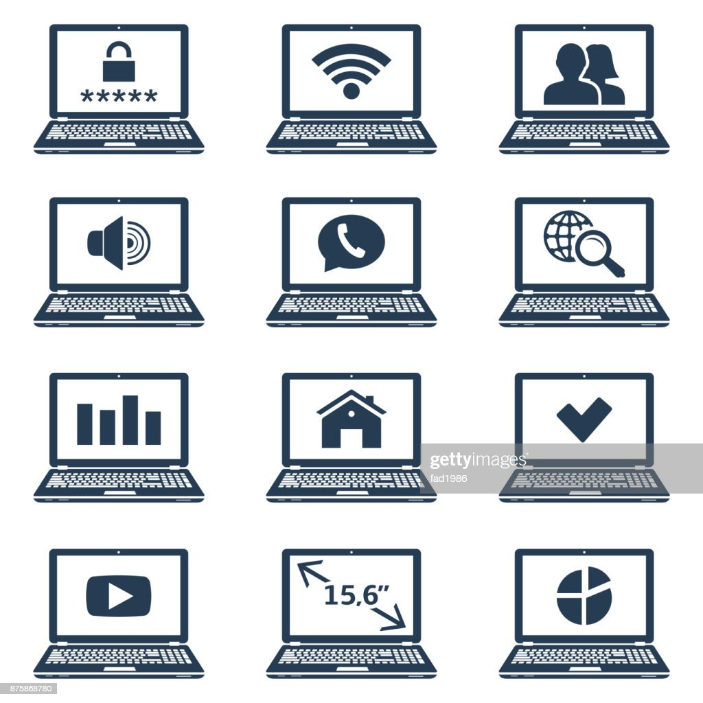 Laptop Icons With Signs And Symbols On Screen Vector Art Getty Images