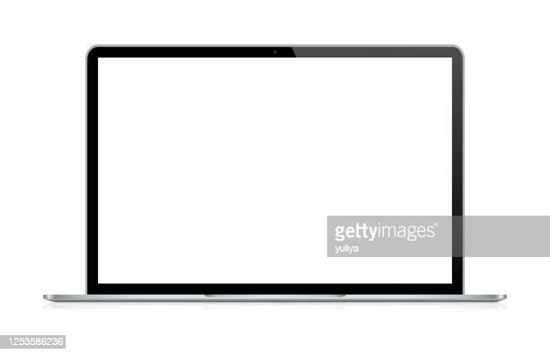 illustrazioni stock, clip art, cartoni animati e icone di tendenza di laptop in black and silver color with reflection, realistic vector illustration - computer portatile