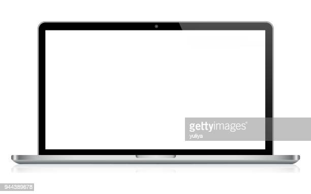 laptop in black and silver color with reflection - white background stock illustrations