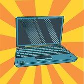 Laptop in pop art. Open digital notebook in comic style. Vector illustration.