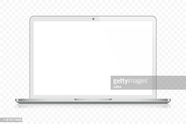 illustrazioni stock, clip art, cartoni animati e icone di tendenza di laptop in silver color with reflection,  transparent background - computer portatile