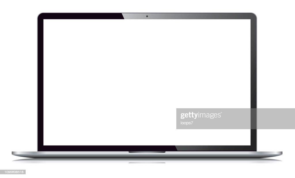 Laptop geïsoleerd op witte achtergrond : Stockillustraties
