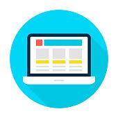 Laptop Landing Page Flat Circle Icon