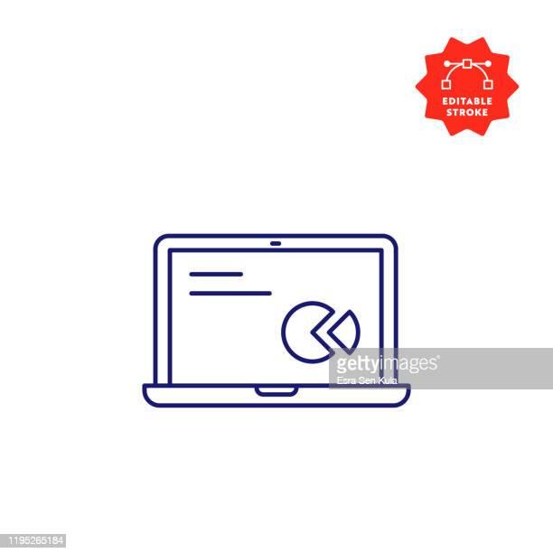 illustrazioni stock, clip art, cartoni animati e icone di tendenza di icona linea laptop con tratto modificabile e pixel perfetto. - computer portatile