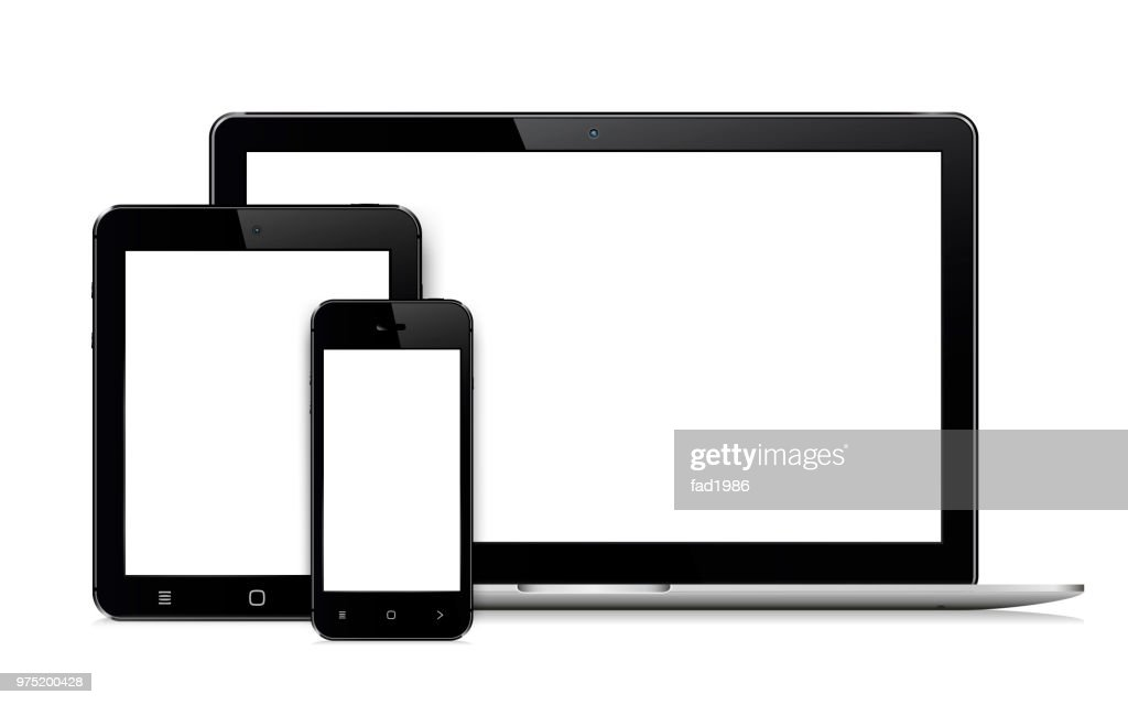 Laptop, mobile phone and digital tablet pc - isolated on white background