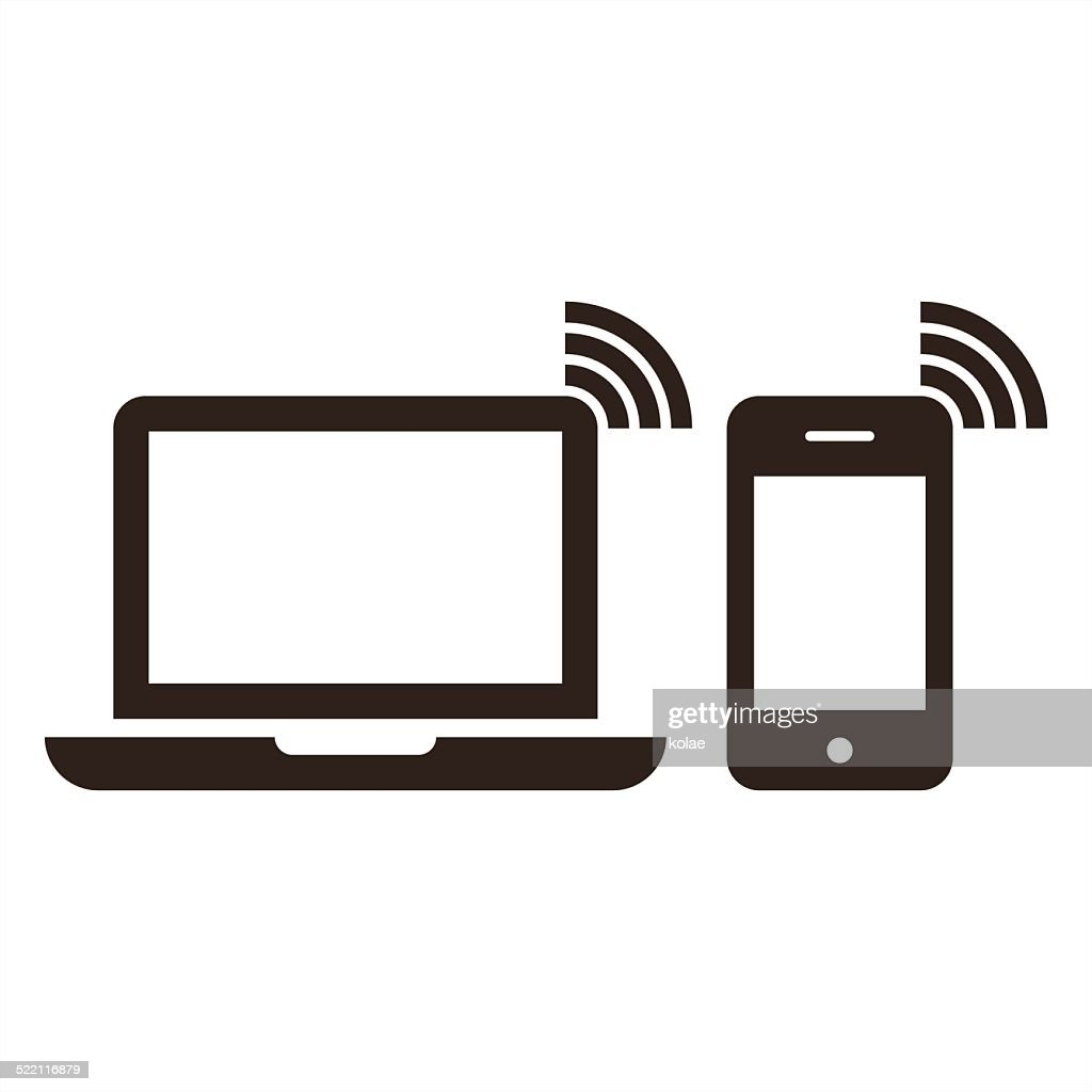 Laptop, mobile phone and wireless network icon