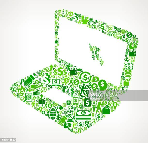 Laptop  Money and Finance Green Vector Icon Background