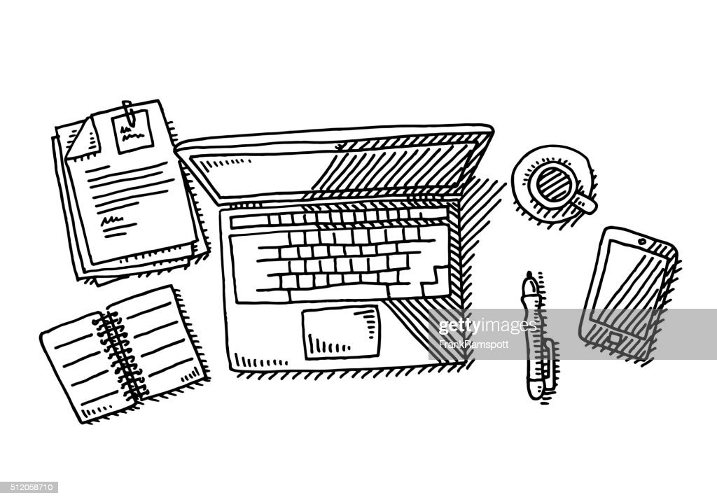Laptop Overhead Desk Workplace Drawing