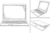 laptop PC doodle - 3 views
