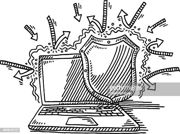 Laptop Protection Shield Hacker Attack Drawing