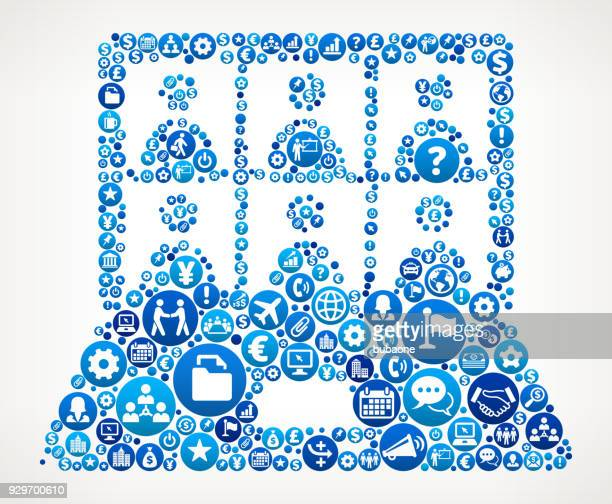 Laptop Screen and Candidates Business and Finance Blue Icon Pattern