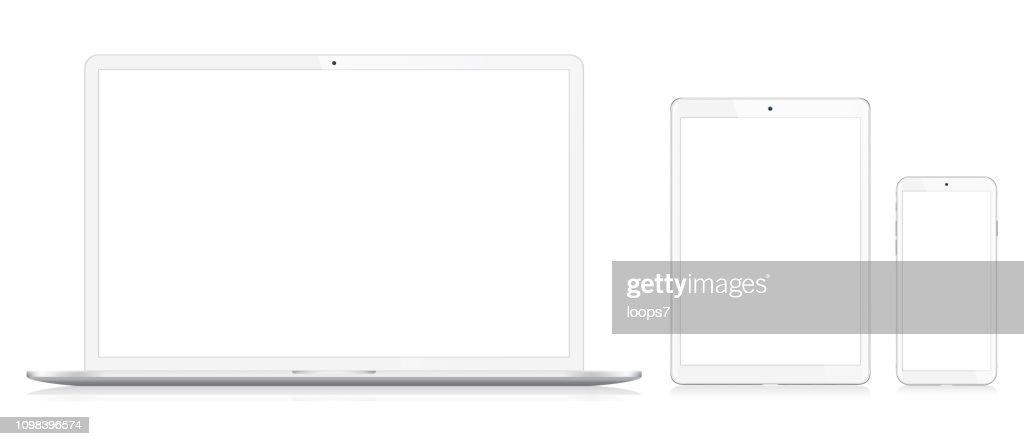 Laptop, smartphone en digitale Tablet : Stockillustraties