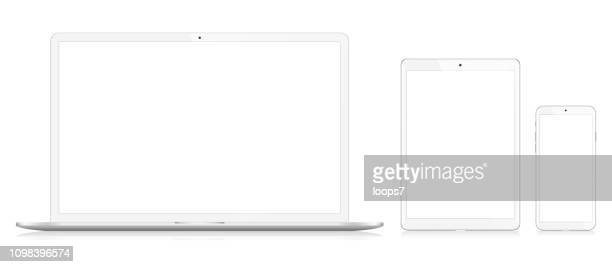 laptop, smart phone and digital tablet - equipment stock illustrations