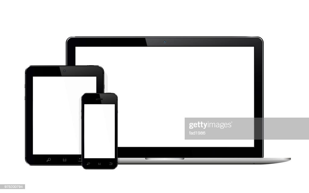 Laptop, smartphone and tablet mockup isolated on a white background