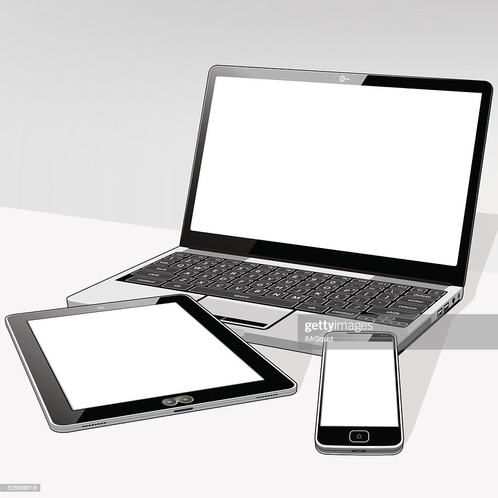 Laptop Tablet and SmartPhone Blank : stock illustration