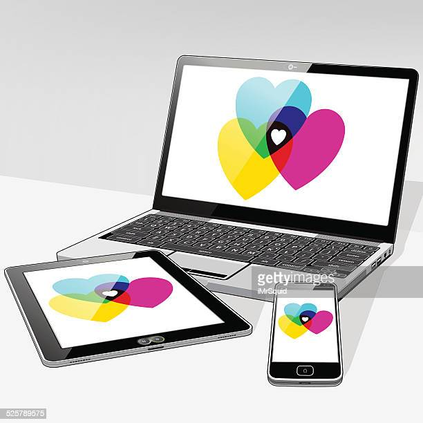 Laptop Tablet and SmartPhone Love Hearts
