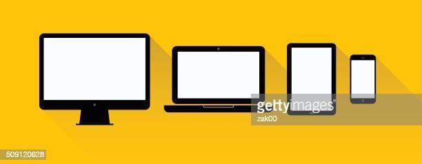 Laptop, Tablette, Mobiltelefon, Computer-Illustration