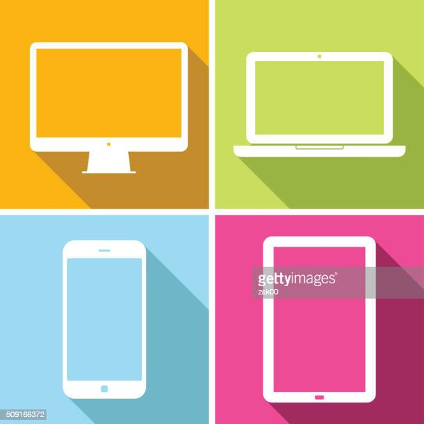 stockillustraties, clipart, cartoons en iconen met laptop, tablet, mobile phone, computer - illustration - tablet pc