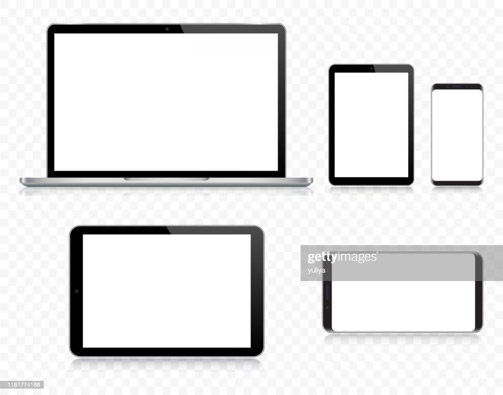 Laptop, Tablet, Smartphone, Handy in schwarz und silber Farbe mit Reflexion, realistische Vektor-Illustration mit transparentem Hintergrund : Stock-Illustration