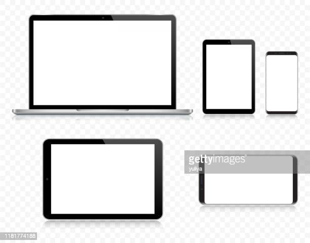stockillustraties, clipart, cartoons en iconen met laptop, tablet, smartphone, mobiele telefoon in zwart en zilver kleur met reflectie, realistische vector illustratie met transparante achtergrond - tablet pc