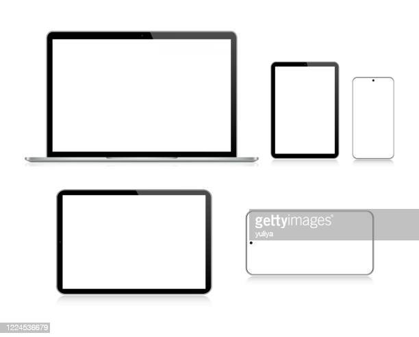 laptop, tablet, smartphone, mobile phone in black and silver color with reflection, realistic vector illustration - white background stock illustrations