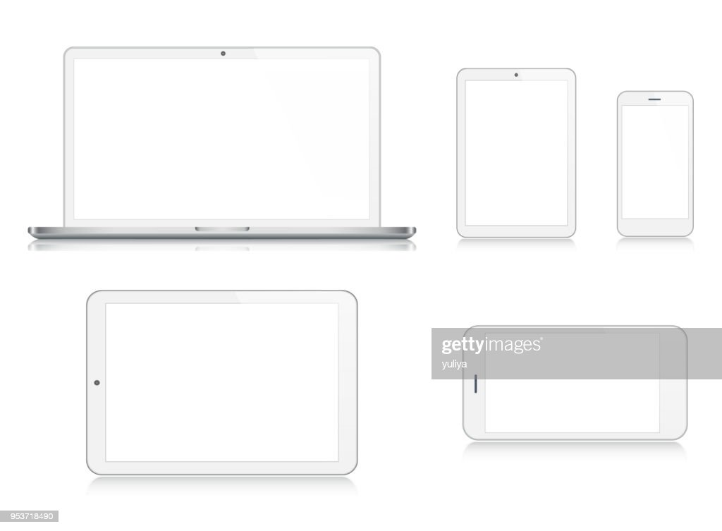 Laptop, Tablet, Smartphone, Handy in Silberner Farbe : Stock-Illustration