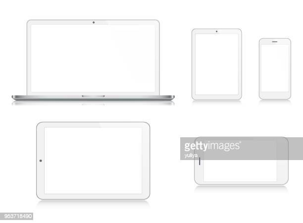 laptop, tablet, smartphone, mobile phone in silver color - white background stock illustrations