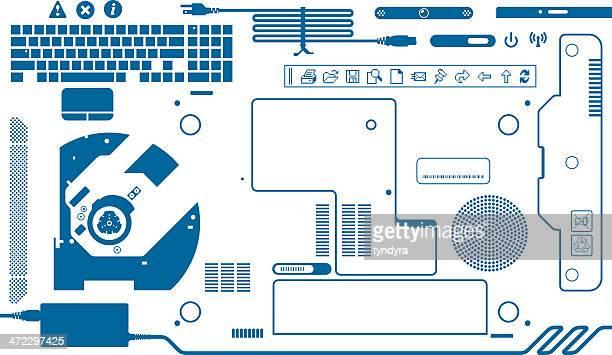 laptop - adaptor stock illustrations