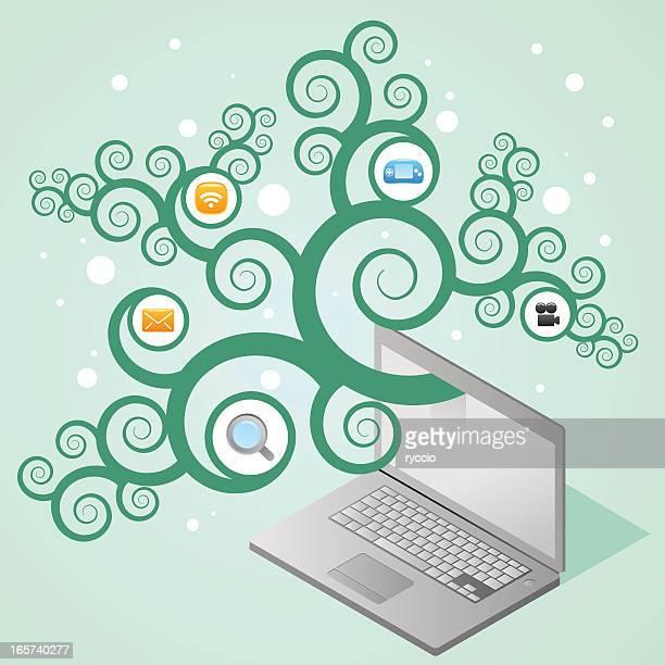 laptop web tree with icons - emitting stock illustrations, clip art, cartoons, & icons