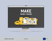 Laptop with 200 Euro Banknote. Flat style vector illustration. Finance concept.