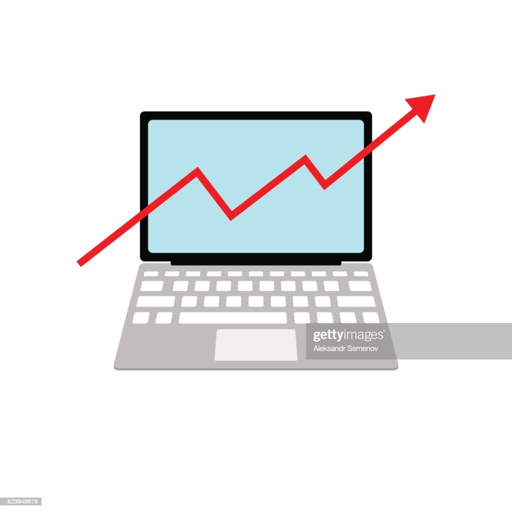 Laptop With A Growth Chart Isolated On A White Background Red Arrow