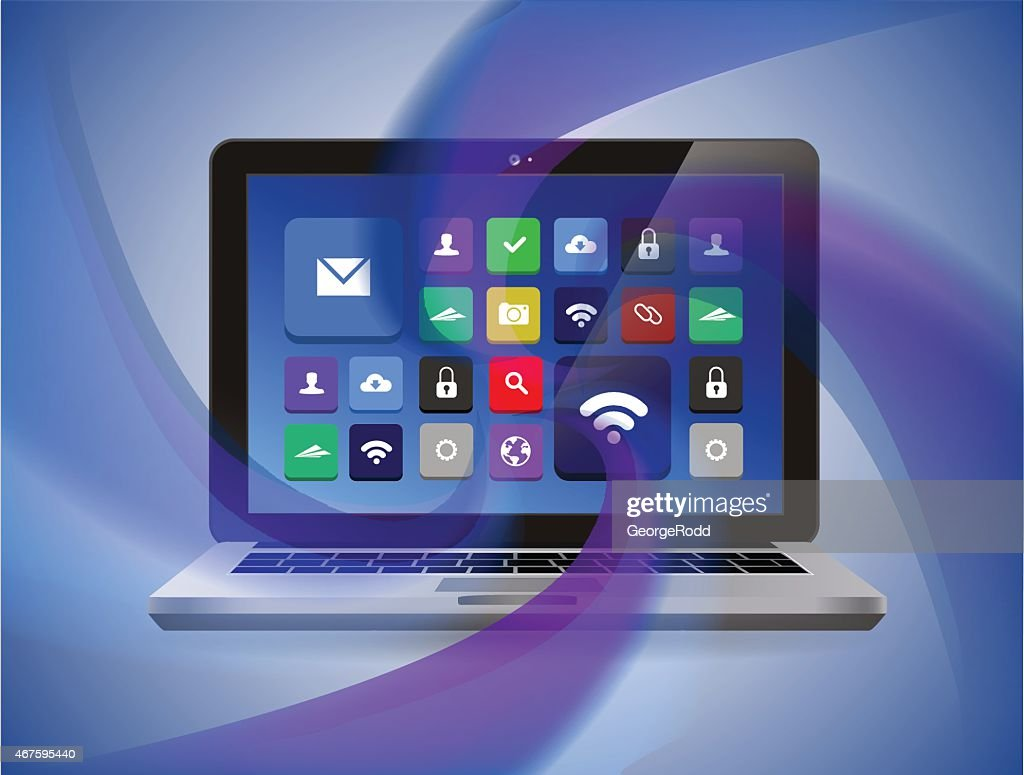 Laptop with abstract waves. Connect and download information.
